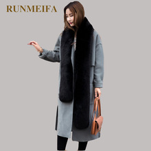 [RUNMEIFA] Fox Fur winter Scarf Women New fashion Noble Fox Fur Scarf Collar Shawl Wraps Stitching 2017 Scarf(China)