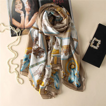 Top grade Luxury brand New Europe Style Horse Carriage chain Women Summer silk Scarf elegant Fashion Fall warm Sunscreen Shawl