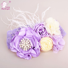 Party girl handmade satin flower lace headband lilac layered flower match feather rhinestone headband hair accessories 12pcs/lot