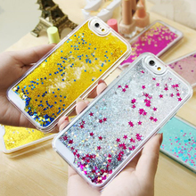LOVECOM Hot Glitter bling Quicksand star Liquid hard back cover clear phone case for iphone 5 5S SE YC213