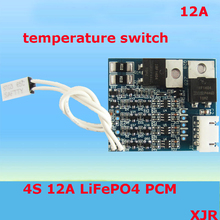 4S 12A 12.8V LiFePO4  BMS/PCM/PCB battery protection circuit board for 4 Packs 18650 Battery Cell w/ Temperature Switch