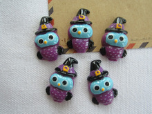 Free Shipping! Halloween Purple Owl with Hat, Resin flatback cabochons for Hair Bow Center Crafts(China)