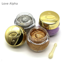 Love Alpha Single Color Eye Shadow Gel Eyes Makeup Glitter Nude Eyeshadow 16 Color EyeShadow Palette Shining Bright Brand Makeup