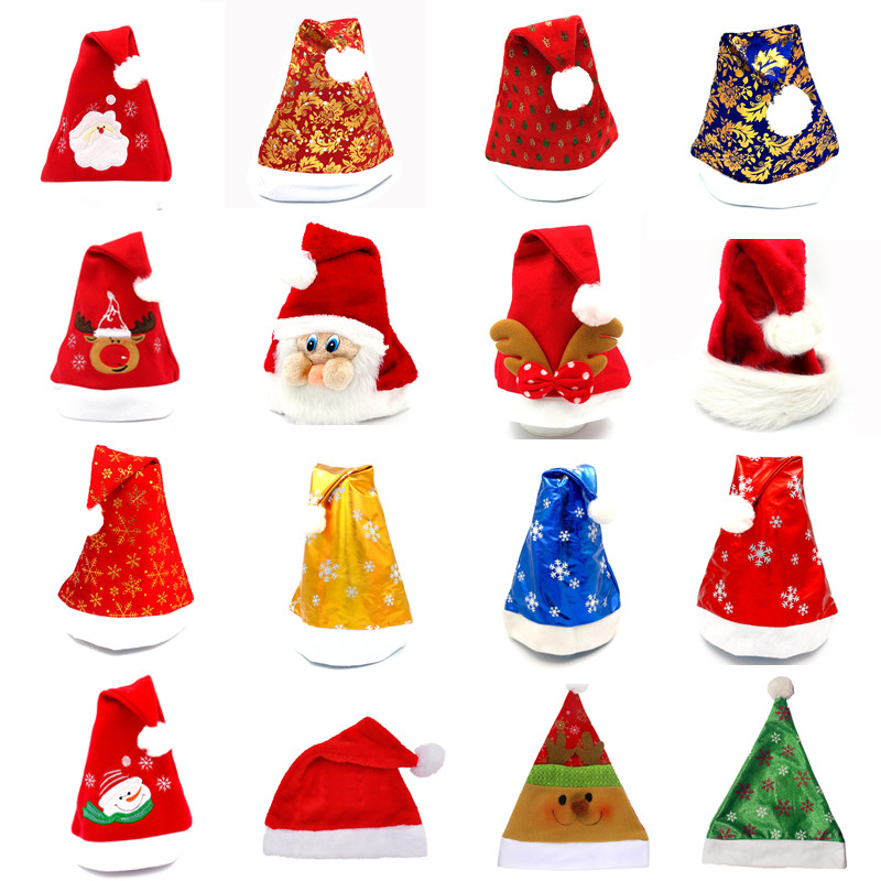 Santa Claus Christmas Hat Snowman Bear Elk Snow Star Merry Christmas Multi Colors Hat Adult Kids Hat Xmas Accessories Supply