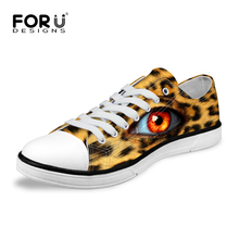 FORUDESIGNS 2017 Latest Trend Hot Sale Man 3D Leopard Eyes Printing Canvas Shoes 6 Kind Pure Color Leisure Cloth Shoes