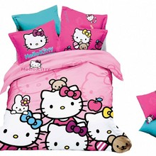 Free shipping Cartoon comforter Hello Kitty Bedding Set king size 3d bed linen for children  Bed sheet Pillowcase