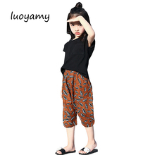 luoyamy Girls Printed Casual O-neck 2pcs/Set Kids Summer Beach Suit Baby Tracksuit Children's Clothes Sets(China)