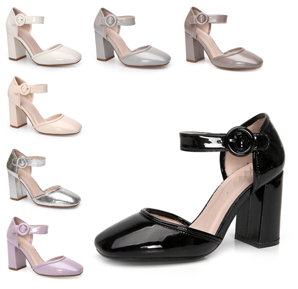 2017 New Hot Sale Genuine Leather elegant thick heel round toe 8.5CM thick high-heeled sandals ankle strap women shoes<br><br>Aliexpress