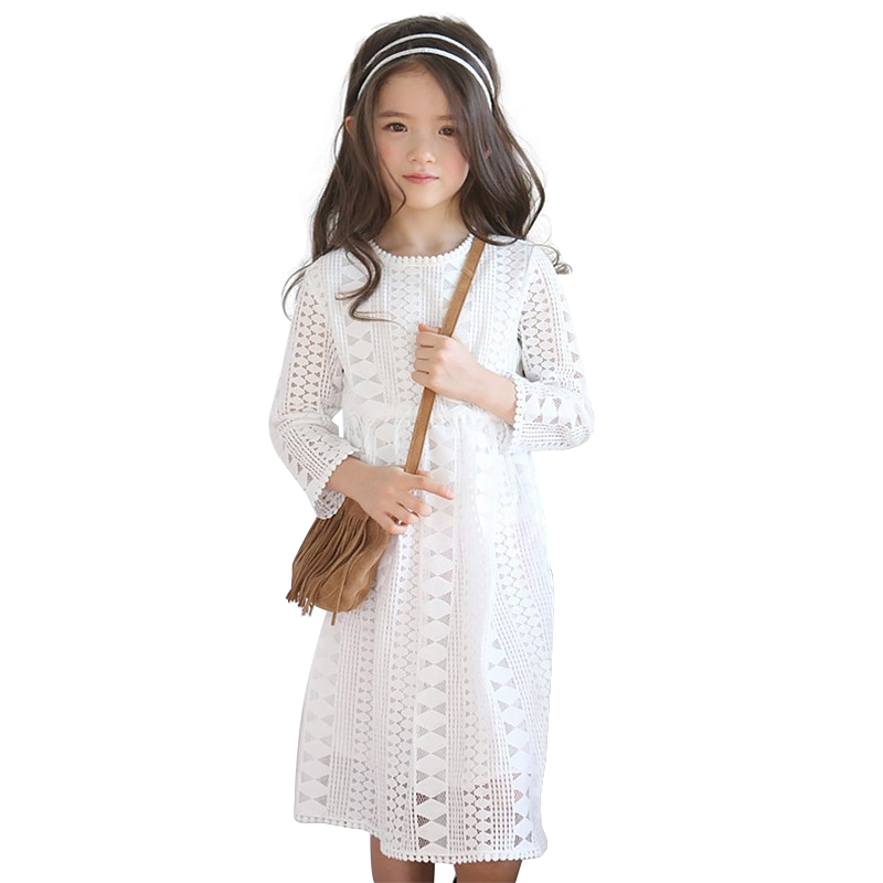 4T to 16T kids &amp; teenager big girls solid white blue geometric hollow out princess formal elegant dresses children clothes<br><br>Aliexpress