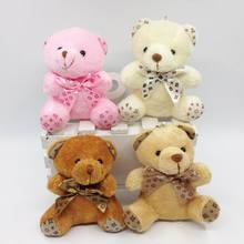 "Bulk 9cm(3.5"") x 40pcs Plush Sitting Teddy Bear With Bow Urso De Pelucia Stuffed Dolls For Bouquet Flower/Bag Pendant(China)"
