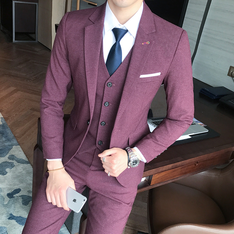 New polyester single buckle solid color suit male Slim groom married groomsman business suit three-piece suit