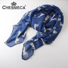 CHESSIECA Womens Scarfs Fashionable Labrador Dog Print Animal Scarves Viscose Shawl Pasminas Mujer Wrap Vestidos De Inverno