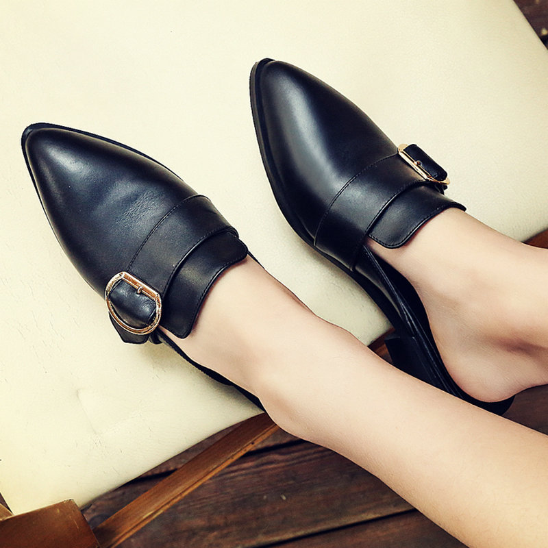 AIWEIYi Genuine Leather Women Sandals Black Square Med Heel Mules Shoes Female Summer Style Slippers Lady Sandals Vintage Shoes<br><br>Aliexpress