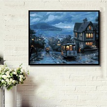 Canvas Handpainted Wall Art Picture Night View Train DIY Painting By Numbers Living Room Home Decor 40x50cm Hogard