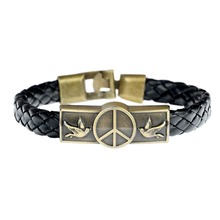 2017 Zinc Geometric Top Fashion Sale Real Easy-hook Leather Handmade Peace Logo Band Bracelet For Lovers Bird Pulseras Jewelry