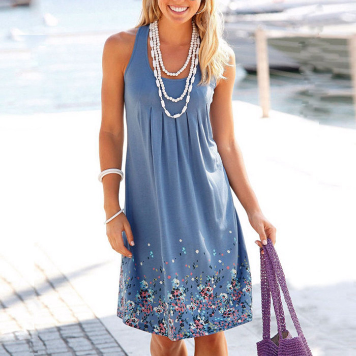 Sleeveless Floral Print Loose Beach Summer Dress Fashion Six Colors Casual Women Dress 19 Sexy Dress Plus Size S-5XL 9