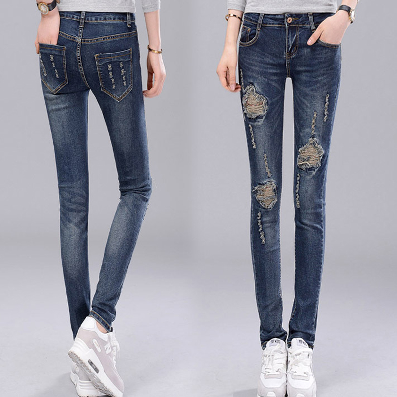 2017 Spring Summer Ripped Jeans  for women Female Denim Pencil Pants Skinny Trousers Femme Bottoms Dark Blue Holes VintageОдежда и ак�е��уары<br><br><br>Aliexpress
