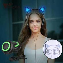 amzdeal New Cat Ears 3.5mm Wired Foldable Glowing Light Up Headband Stereo Headphone Headset Professional Music Earphones Gift