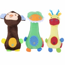 New Dog Toys Pet Puppy Chew Squeaker Squeaky Plush Sound Cartoon Frog/Giraffe/Monkey Toys(China)