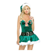 NEW Adult Sexy Green Elf Velvet Santa Ladies Costume Fantasy for Women Christmas party Fancy Dress costume Outfit