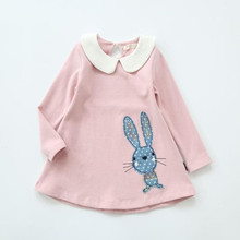 Autumn Long Sleeve Girl Dress New Casual Style Girls Clothing Cartoon Cute Rabbit Embroidery Spring Dress Kids Cotton Clothes