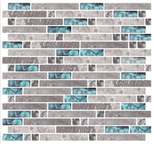 "Cocotik 10.5""x10"" Anti-mold decorative mosaic peel and stick 3d wall backsplash tiles for kitchen - Pack of 6(China)"