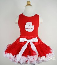 2 Pieces Set - Christmas Red White Pettiskirt & Red Tank Top with Satan Hohoho / Pettitop Size 1-7Y