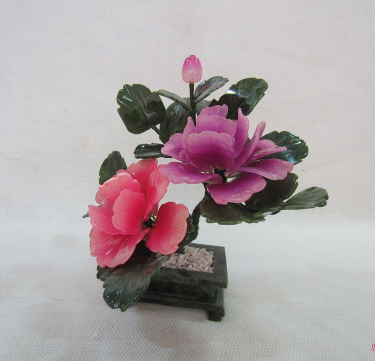 Natural jade jewelry jade crafts peony room Home Furnishing flower gifts creative desktop decoration<br>