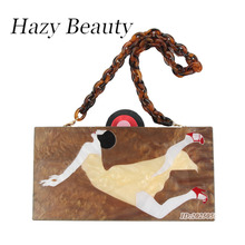 Hazy beauty dancing women image acrylic handbag super chic lady shoulder bag with plastic bag belts trendy party purse hot A215(China)