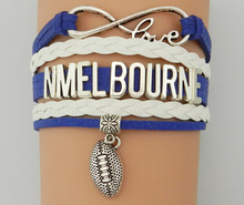Drop Shipping Infinity Love N Melbourne  Bracelet-Customized College Football Charm Team Club Friendship Australian Club Gift