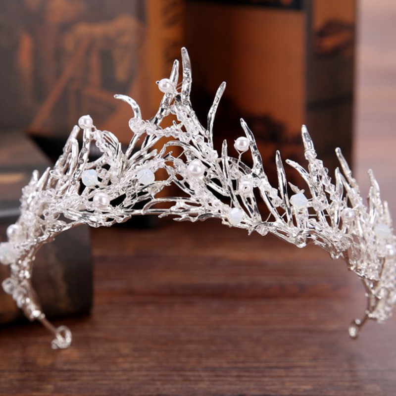 Baroque Tiara Women Vinatge Tiaras and Crowns Bridal Photography Accessories Hiar Ornament Wedding Tiara Hair Jewelry HG347(China)