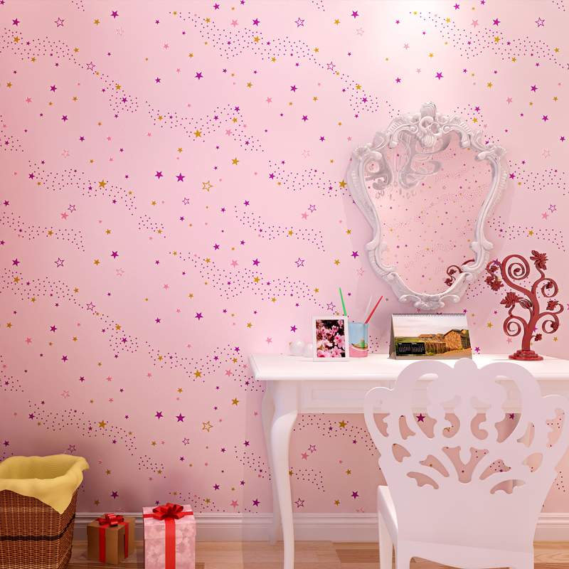 Childrens Room Non-woven Wallpaper 3D Milky Way Star Wall Paper Boys Girls Bedroom Environmental Protection Papel De Parede 3 D<br>