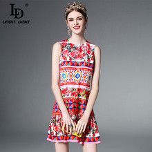 High Quality Newest 2017 Runway Designer Summer Dress Women's Sleeveless Elegant Straight Mini Cute Rose Floral Print Dress(China)