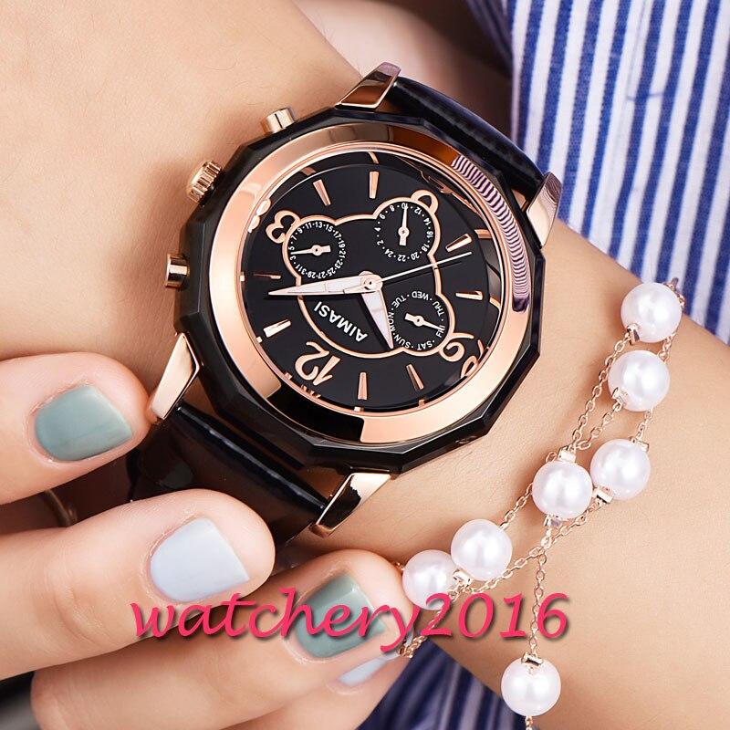 Fashion 41.2mm AIMASI black dial PVD case leather strap normal buckle Quartz movement Mens WristWatch<br>