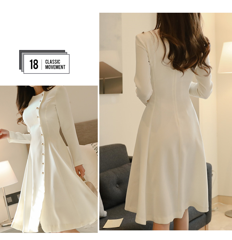 Elegant Dress Women Casual Long Sleeve Dress Office Lady Runway Designers High Fashion Dress 10
