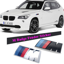 2pcs ABS Car  M power perform Badge Fender Side Grill Sticker For BMW E46 E39 E60 E90 E36 E30 F30 F10 E53 X3 X5 X6 M3 M5 M6
