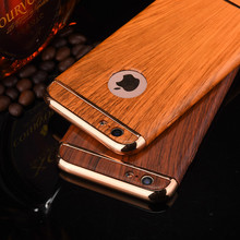 Luxury Wood Grain 360 Full Body Protection Case For Apple iphone 6 6S 7 Plus Plating Hard Slim Shockproof Armor Capa Back Cover