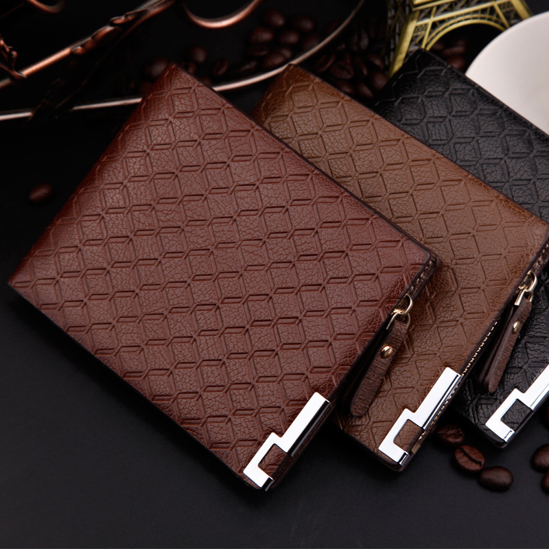 Wholesale Price Fashion Men Wallets Quality Leather Business Cross Lattice Square 3 Folds Zipper Pocket Card Holder Wallet Purse<br><br>Aliexpress