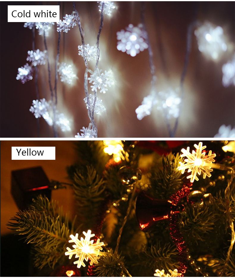 10M 100Leds 2V Christmas Tree Snow Flakes Led String Fairy Light Xmas Party Home Wedding Garden Garland Christmas Decorations 3