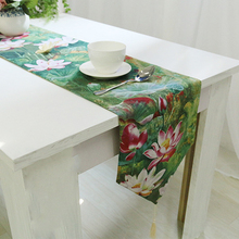 Green Table Runners Chinese Style Classical Lotus Printed Chemin De Table Toile De Jute Fabric Caminho De Mesa Wedding Decoratio(China)