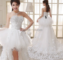 A Line Wedding Dress Luxury Crystal Sweetheart  Removable Short Front Long Back Wedding Dresses Ivory/White Wedding Dress
