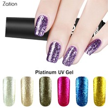 Zation Glitter Platinum Varnish Foil Metal Lacquer Shimmer Nail Polish Shine Colorful Gel Polish Nail Bling Top Base Coat UV Gel(China)