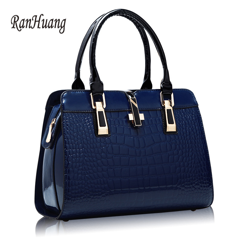 RanHuang Women Alligator Handbag High Quality Luxury Patent Leather Shoulder Bag Fashion Message Bags Blue Bolsa Feminina A166<br>