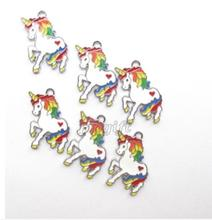 Lot 50pcs rainbow unicorn white cartoon anime Enamel Metal Charm Pendants DIY Jewelry Making Mobile Phone Accessories 26mm(China)