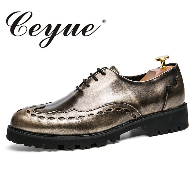 Ceyue Brogue Fashion Lace Up Men Casual Shoes Thick Bottom Outdoor Walking Breathable Shoes Men Height Increase 3 cm Men Shoes<br>
