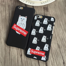 Phone Cases For iPhone 7 7Plus 5 5s SE 6 6s 6 Plus Fashion Supreme Middle Finger Pocket Cat Letter Fundas Covers Hard PC Coque