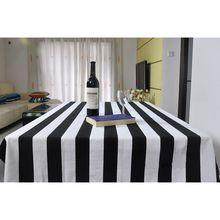 70*70cm Black White Stripes Tablecloth 100% Cotton Pastoral