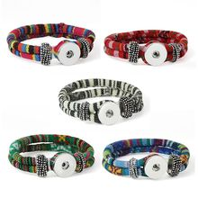 Length Customed 10 color bracelet for women 18mm xinnver snap button armband cloth sterling jewelry bangle for man(China)