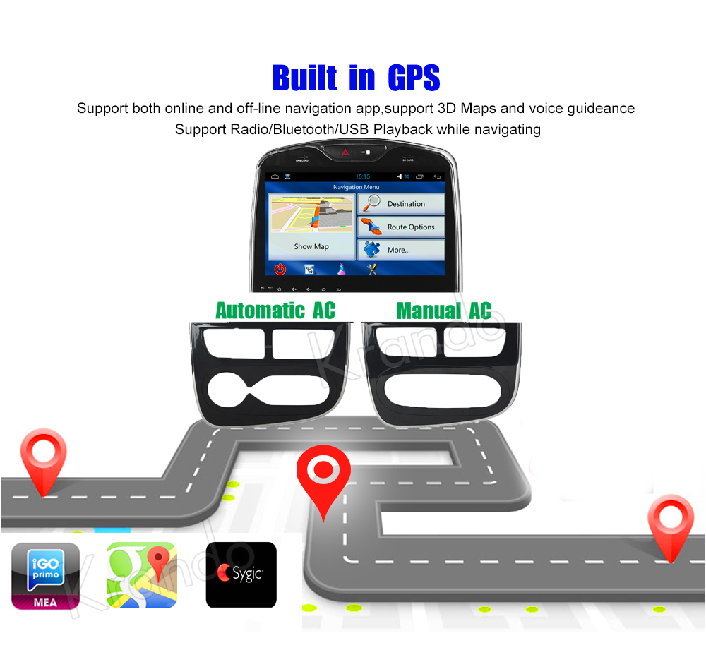 Krando Android car radio gps navigation multimedia system for Renault c;op 2013 2014 2015 2016 2017 2018