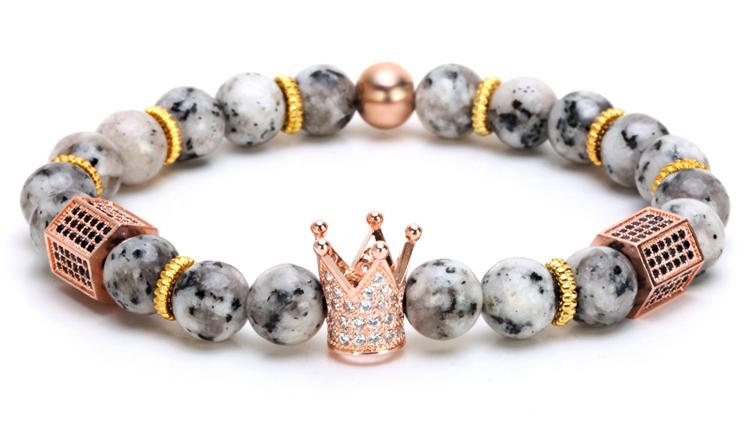 King Crown Charm & Grey Labradorite Beaded Bracelet